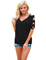 Tee-shirt Femme,Couleur Pleine Plage Vacances simple Eté ½ Manches Col en V Polyester Spandex Moyen