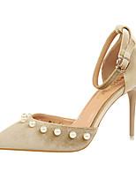 Women's Heels Spring Summer Club Shoes Comfort Fleece Office & Career Party & Evening Dress Stiletto Heel Imitation Pearl Buckle Walking