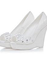 נשים-עקבים-חומרים בהתאמה אישית-נעלי ילדת הפרח נעלי מועדון-לבן-חתונה שמלה מסיבה וערב-עקב וודג'
