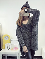 Women's Casual/Daily Simple Regular Pullover,Solid V Neck Long Sleeve Cotton Winter Medium Micro-elastic