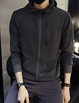 Men's Casual/Daily Active Hoodie Solid Peter Pan Collar Micro-elastic Polyester Long Sleeve Spring Fall