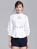 Для женщин На выход На каждый день Весна Лето Рубашка Воротник-стойка,Простое Уличный стиль Однотонный Рукав ½,Хлопок,Средняя
