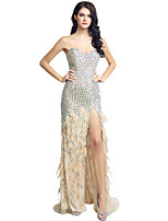 Formal Evening Dress Trumpet / Mermaid Sweetheart Sweep / Brush Train Jersey with Beading