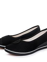 Белый Черный-Для женщин-Повседневный-Полотно-На плоской подошве-Удобная обувь-Мокасины и Свитер