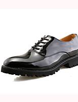 Черный Красный-Для мужчин-Свадьба Повседневный Для вечеринки / ужина-Кожа-На плоской подошве-Формальная обувь-Туфли на шнуровке