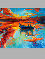 Hand-Painted Abstract Sailing Boat Oil painting Ready To Hang Modern One Panels Canvas Oil Painting For Home Decoration