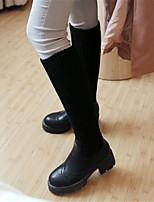 Damen-Stiefel-Lässig-PU-Keilabsatz-Mary Jane-Weiß Schwarz