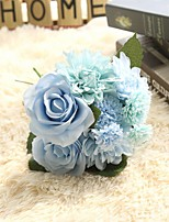 1 Branch Polyester Plastic Roses Tabletop Flower Artificial Flowers 9.5*9