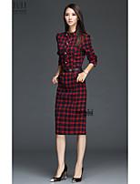 Original 2017 Hitz England plaid long-sleeved collar Slim thin long-sleeved dress in autumn