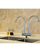 Contemporary Pull-out/­Pull-down Centerset Rotatable with  Ceramic Valve Two Handles One Hole for  Chrome , Kitchen faucet