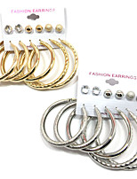 6Pair Stud Earrings Hoop Earrings Earrings Set AAA Cubic Zirconia Pendant Multi-ways Wear Alloy Round Jewelry ForWedding Party Special Occasion