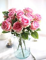 1 Une succursale Polyester Plastique Roses Fleur de Table Fleurs artificielles 47