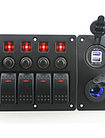 IZTOSS red led DC12/24V 4 Gang on-off rocker switch curved panel and circuit breaker with label stickers and led cigarette power and 3.1A USB socket f