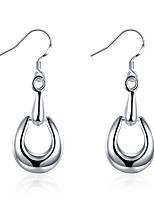 Concise Silver Plated Hollow Semicircle Dangle Earrings for Party Women Jewelry Accessiories