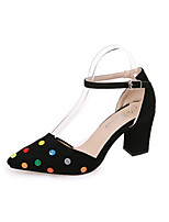 Women's Heels Spring Summer Fall Comfort Fabric Office & Career Dress Chunky Heel Polka Dot