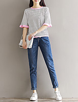 Women's Casual/Daily Short Cardigan,Striped Round Neck Short Sleeve Others Summer Medium Micro-elastic