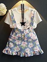 Girls' Casual/Daily Floral Sets,Cotton Rayon Summer Short Sleeve Clothing Set