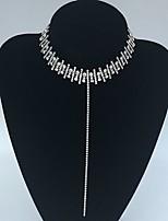 Femme Collier court /Ras-du-cou Collier Y Strass Alliage Basique euroaméricains Or Argent Bijoux PourMariage Soirée Occasion spéciale