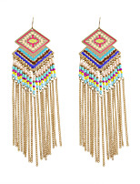 Bohemia Women BeadsTassels Alloy Drop Earrings