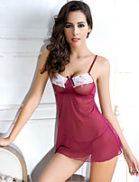 Women Garters & Suspenders Ultra Sexy Nightwear,Lace Solid-Thin Mesh Nylon Burgundy Women's