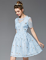 Women's Plus Size Going out Casual/Daily Vintage Cute Sophisticated A Line Sheath Skater Dress Patchwork Embroidered Organza Bubble