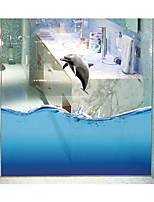 Dolphin Seamless Splice 3D Seawater PVC Glass Stickers Decoration for The Bathroom