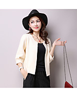 Women's Casual/Daily Simple Regular Cardigan,Solid Round Neck ¾ Sleeve Rabbit Fur Fall Medium Inelastic