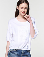 Women's Going out Casual/Daily Short Cardigan,Solid Round Neck ½ Length Sleeve Rayon Nylon Spring Fall Thin Micro-elastic