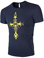 Tee-shirt Homme,Géométrique Sortie Décontracté / Quotidien Grandes Tailles simple Actif Eté Manches Courtes Col Arrondi Coton Acrylique