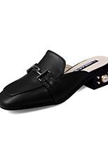 Белый Черный-Для женщин-Для праздника-Микроволокно-На толстом каблуке Блочная пятка-Удобная обувь-Сандалии
