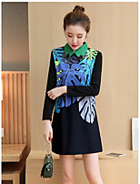 Sign new XL 2017 women fat mm long section of the new printing base skirt dress