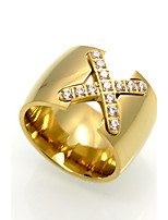 Кольцо Геометрический Двойной слой Мода По заказу покупателя Rock Euramerican Цирконий Титановая сталь Геометрической формыЗолотой