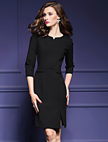Women's Casual/Daily Sheath Dress,Solid Round Neck Knee-length ¾ Sleeve Polyester Spring Mid Rise Micro-elastic Medium