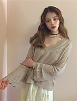 Women's Going out Casual/Daily Short Cardigan,Solid V Neck Long Sleeve Cotton Spring Fall Thin Inelastic