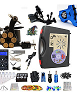 Complete Tattoo Kit 3  Machines Blue Hurricane Dual Digital LED Power Supply  Liner & Shader