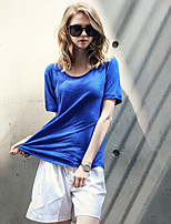Spot large yards 2016 summer new European and American women solid color round neck loose big yards bamboo cotton T-shirt
