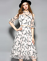 YHSPWomen's Going out Beach Holiday Sexy Cute Sophisticated A Line Sheath Swing DressFloral Asymmetrical Midi  Length Sleeve Polyester