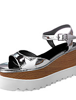 Sandals Spring Summer Fall Slingback Synthetic Office & Career Party & Evening Dress Wedge Heel Buckle Silver Gold