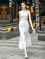 Women's Going out Casual/Daily A Line Dress,Solid Round Neck Maxi Sleeveless Polyester Spring Mid Rise Inelastic Medium