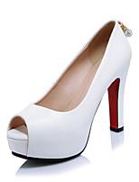 Damen-High Heels-Hochzeit Büro Kleid-Mikrofaser-Stöckelabsatz-Club-Schuhe-Weiß Schwarz Rot
