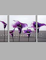 Hand-Painted Abstract Floral/Botanical Purple calla lily Modern Three Panels Canvas Oil Painting For Home Decoration