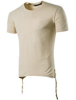 Men's Casual/Daily Simple Summer T-shirt,Print Round Neck Short Sleeve Polyester Opaque