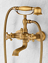 Centerset Handshower Included with  Ceramic Valve Two Handles Three Holes for  Antique Brass , Shower Faucet