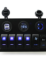 IZTOSS DC 12/24V 6 gang blue rocker switches panel with blower switch and horn swith and 3.1A Dual USB voltmeter led power Socket pre-wired and wiring