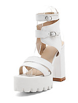 Women's Sandals Spring Summer Fall Slingback PU Office & Career Dress Party & Evening Chunky Heel Block Heel BuckleWhite Black Beige