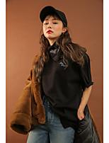 Корейская стилэндэда же абзац свободная футболка печать вышивка