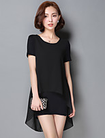 2017 Summer Korean chiffon shirt short-sleeved T-shirt big yards long section of loose stitching ladies bottoming