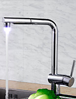 Contemporary Art Deco/Retro Modern Tall/High Arc Pull-out/Pull-down Standard Spout Deck Mounted LED Thermostatic Pullout Kitchen Faucet