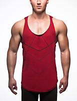Для мужчин Спорт Лето Безрукавка С открытыми плечами,Простое Активный Однотонный Без рукавов,Хлопок,Тонкая