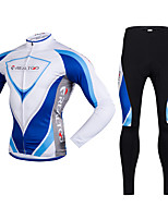 Realtoo Cycling Jersey with Tights Men's Long Sleeve BikeBreathable Thermal / Warm Quick Dry Fleece Lining Ultraviolet Resistant Front
